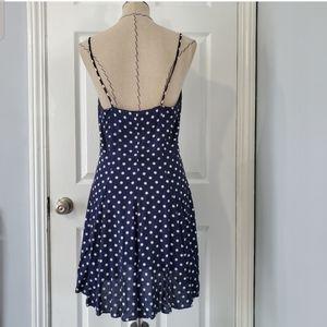 Vintage Dresses - Vintage Navy Polka Dot Button Down Dress